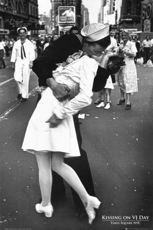black and white photography kissing. Kissing on VJ Day Poster